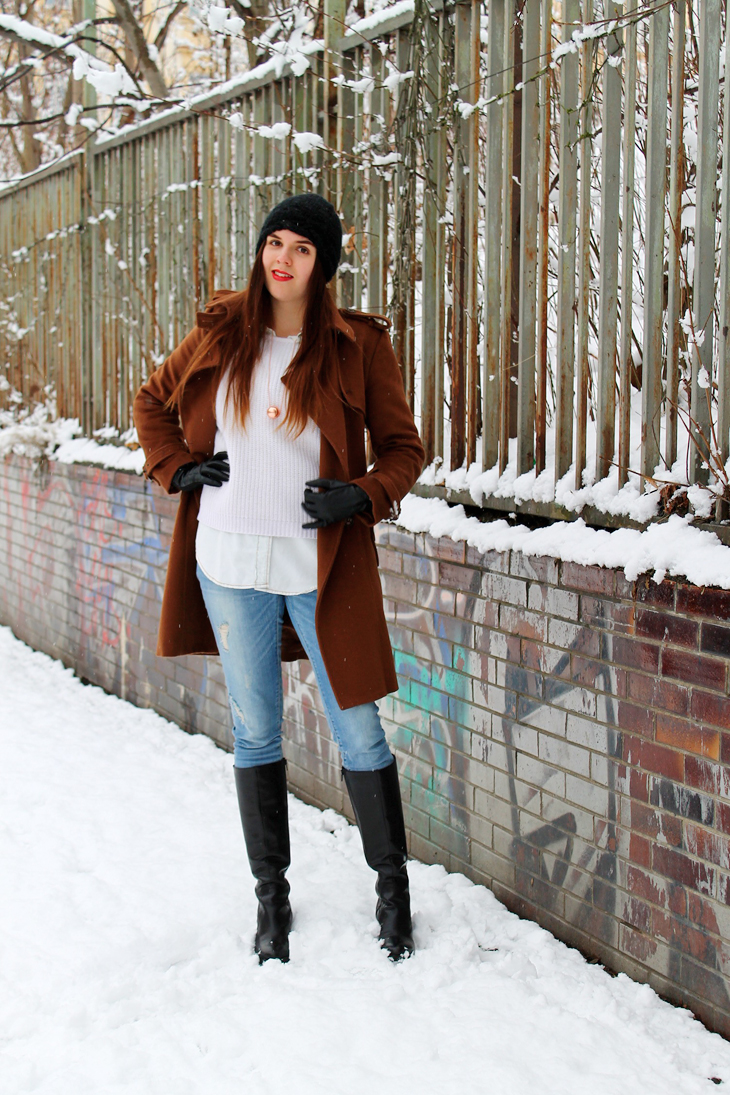 Brown Coat & Destroyed Jeans