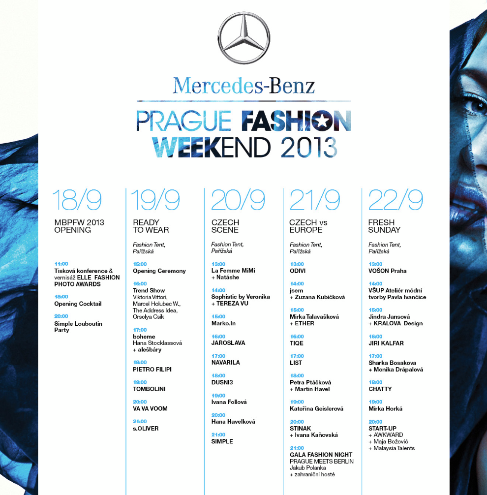 Mercedes-Benz Prague Fashion Weekend 2013 - SCHEDULE